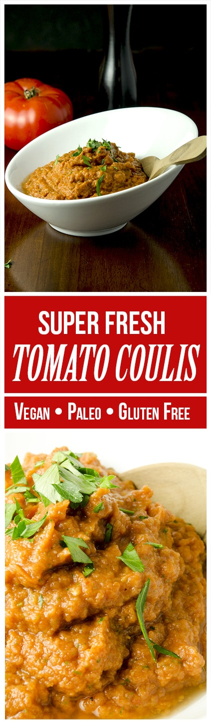 This tomato coulis recipe is gluten free, paleo, vegan, raw, low carb and the perfect topping for fish, pork, chicken, lamb or bruschetta.