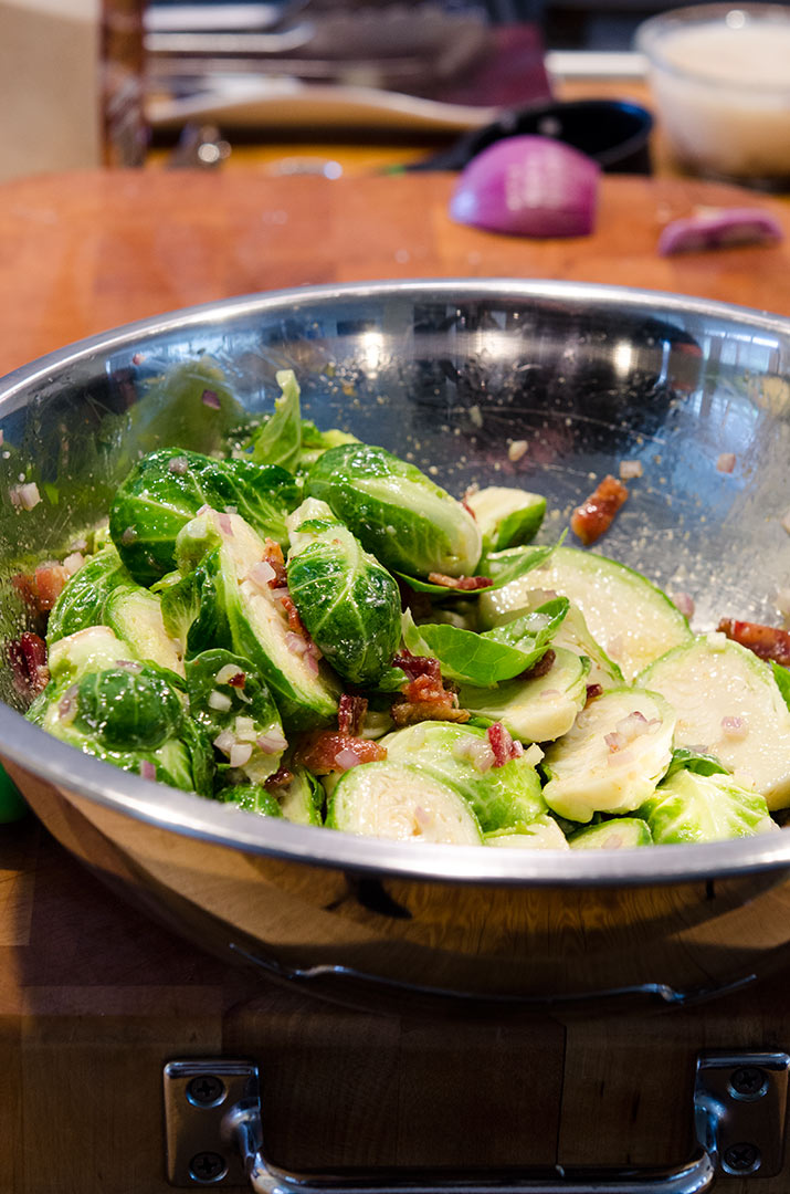 Adding bacon with the roasted brussels sprouts intensifies the flavors!