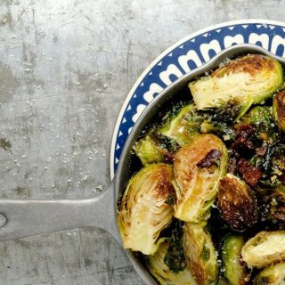 Oven roasted brussels sprouts with garlic, bacon and shallots. The combination is outrageously delicious.