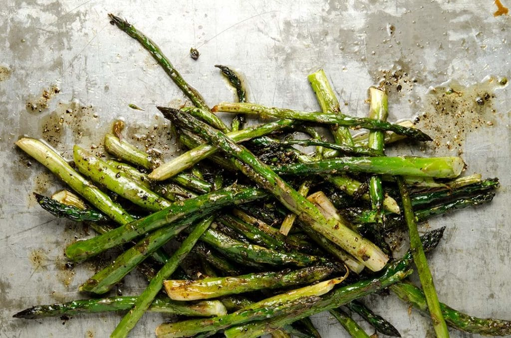 Roasting asparagus with brown butter and balsamic vinegar is absolutely delicious.