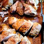 After your beer can chicken has been cooked on the grill, it's time to slice and dice. Enjoy!