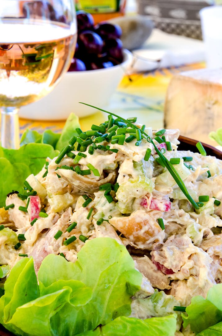 Enjoy this rotisserie chicken salad with a crisp, chilled wine... some fruit and cheese. It is delicious.