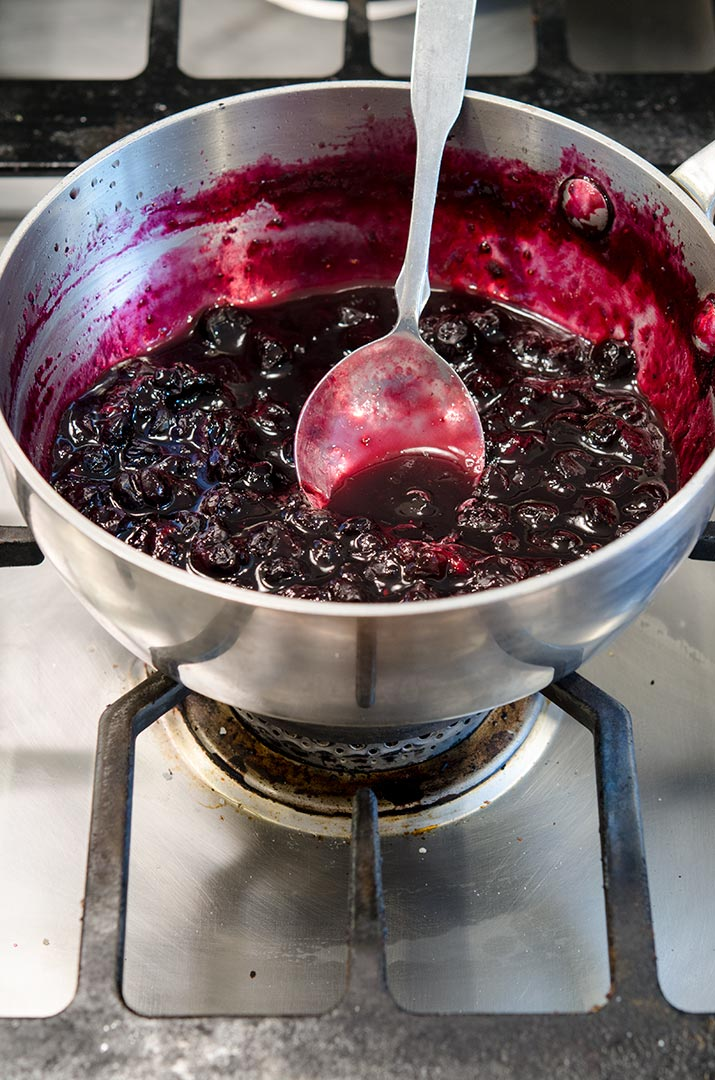 Blueberry compote is a mixture of blueberries, sugar and lemon. It is delicious on crepes, waffles and french toast!