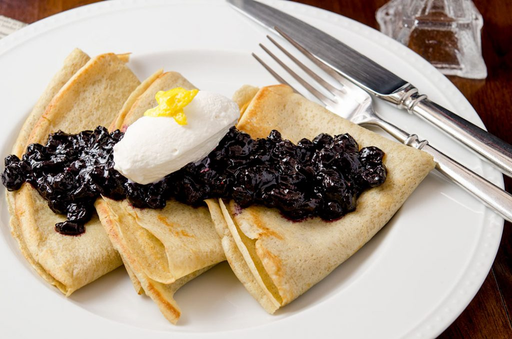 Blueberry Compote with Gluten Free Crepes