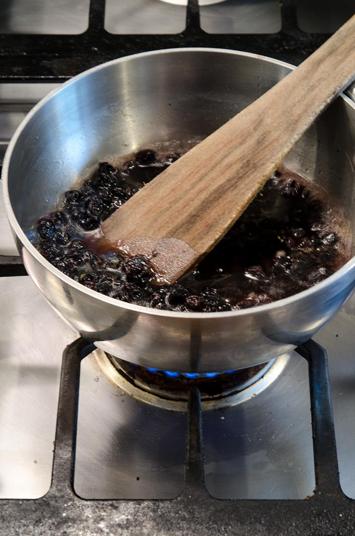 To make blueberry compote, we are going to use both dried and fresh blueberries with sugar and lemon. Yum.