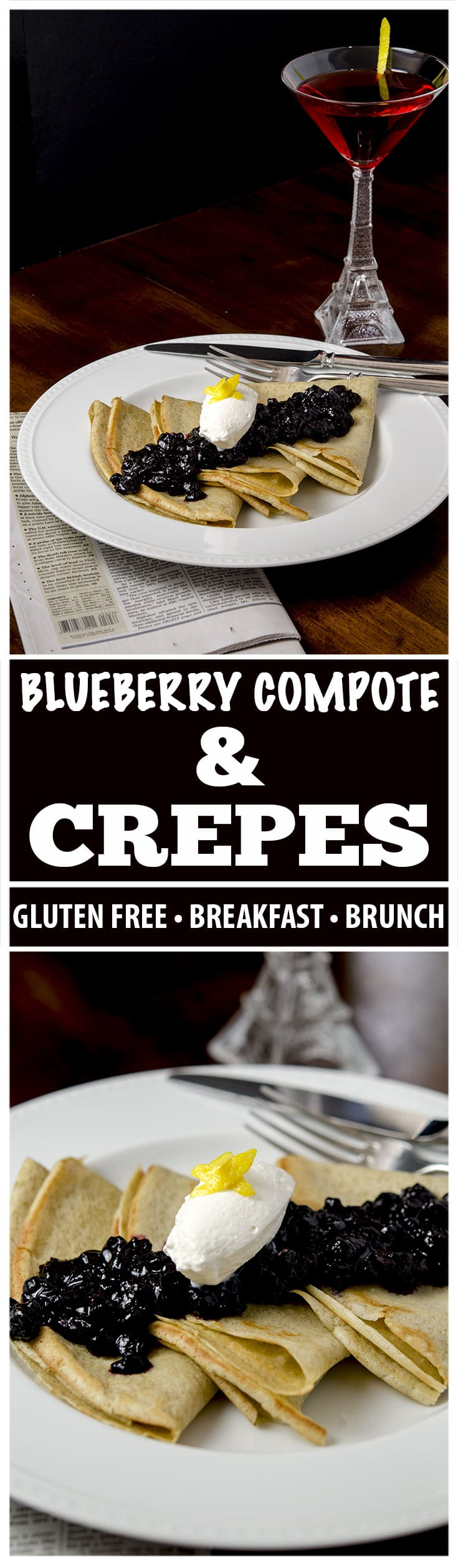 Try this amazing breakfast or brunch collection featuring gluten free crepes, blueberry compote and vanilla maple whipped cream. Just delightful.