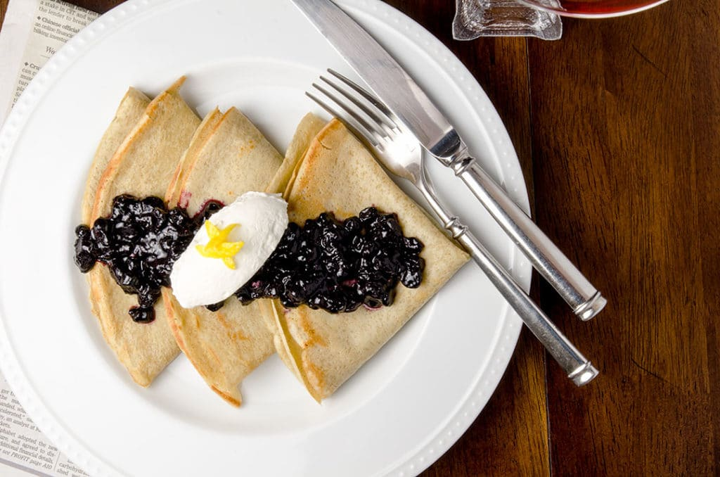 I wanted to leave you with this parting thought: make time for yourself. You deserve to eat these crepes with blueberry compote.