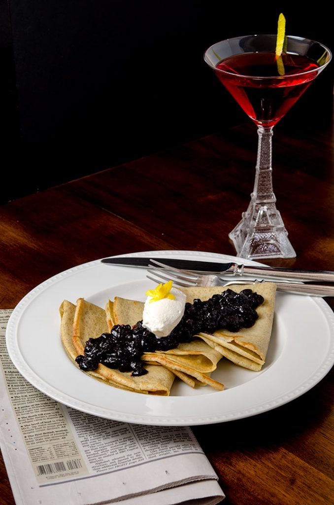 When you put together gluten free pancakes with blueberry compote and vanilla whipped cream, a cocktail is in order as well. Just delightful way to start the day.