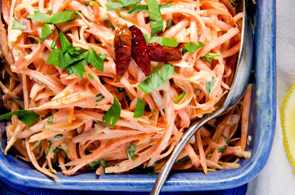 A deliciously spicy summer Carrot Salad Recipe.