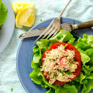 Tuna salad that really refreshes on a hot summer day. Simple ingredients, no mayo and delicious flavor.