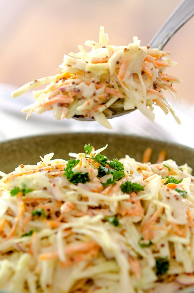 A creamy coleslaw recipe ready for your table in under 15 minutes with the perfect balance of flavor and zippiness!