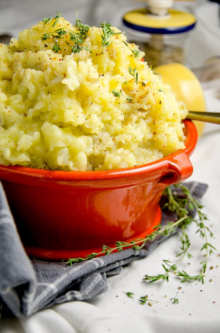 I just want to take a bite of these smashed potatoes right now... the olive oil, thyme and garlic pair perfectly together.