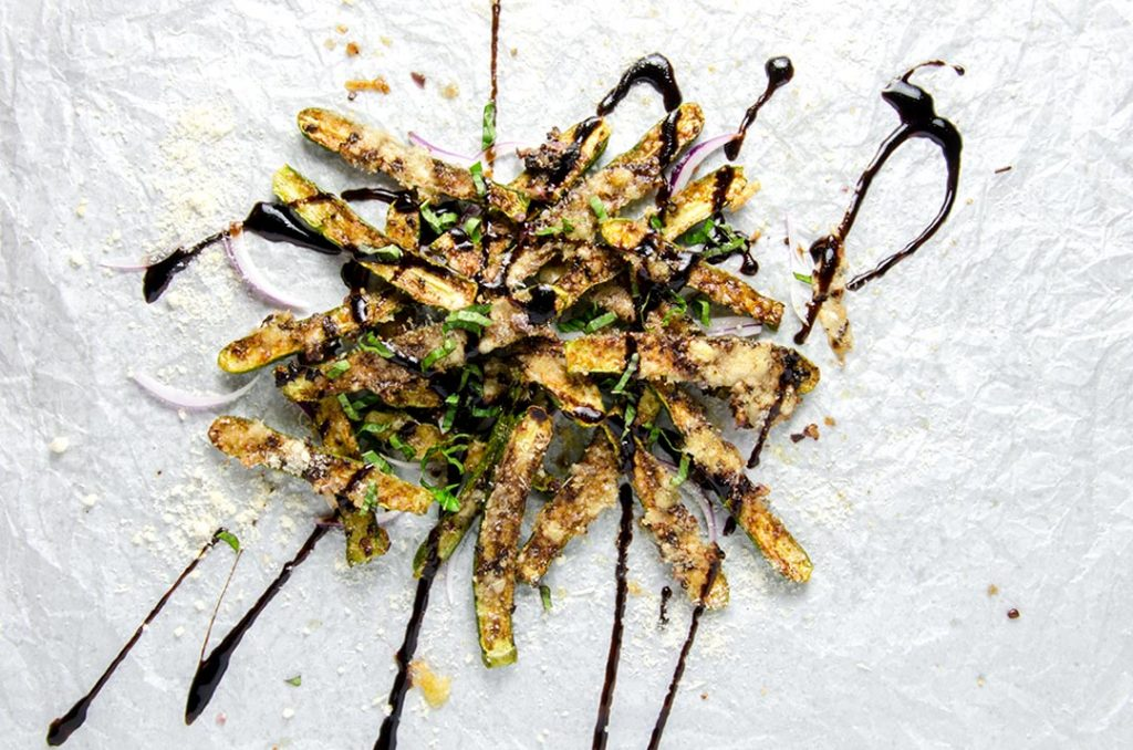 Zucchini fries are first sauteed, then baked to achieve the ultimate in deliciousness. Just fantastic.