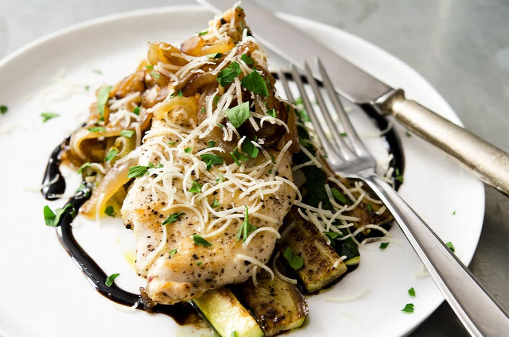 I want to cut into this sauteed chicken breast right now... then pile on the zucchini and onions. BAM!