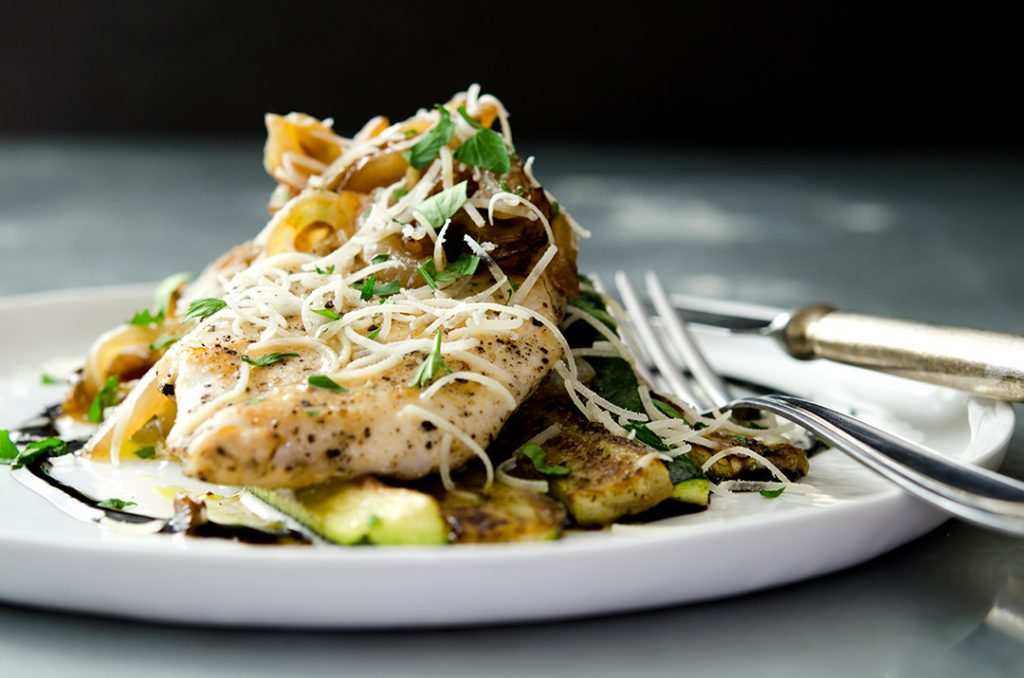 Sauteed Chicken Breast with Zucchini Medley