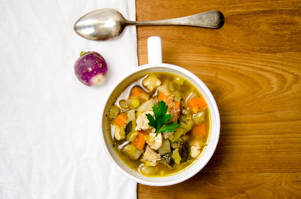 This chicken vegetable soup recipe uses leeks, turnips and zucchini to keep it interesting... and wow is it delicious.