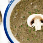 A perfect balance of body and flavor make this cream of mushroom soup inviting and interesting to eat.