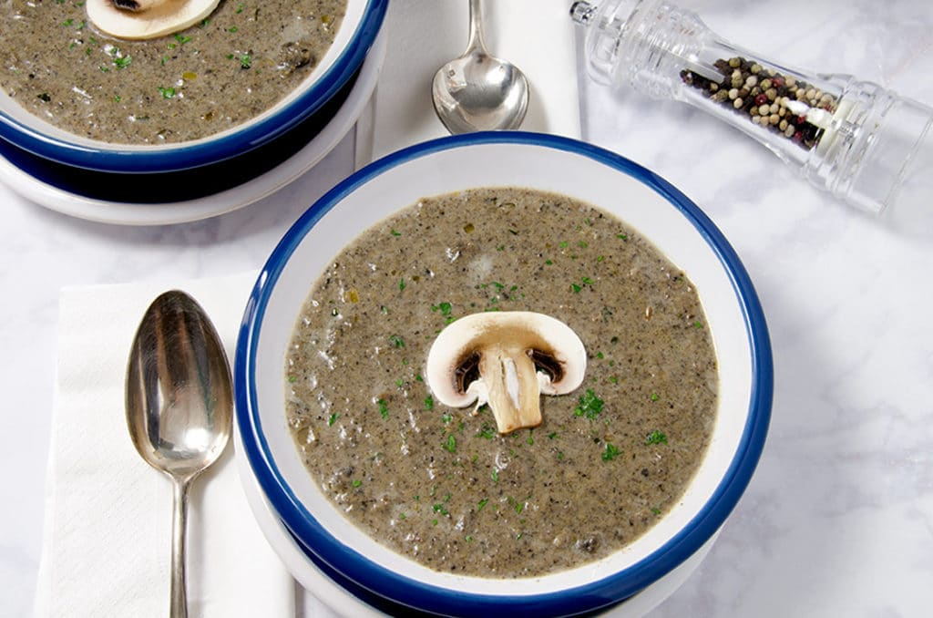 Fresh parsley and a couple cranks of cracked pepper make this cream of mushroom soup stand out from the rest. It's both hearty and delicate at the same time.