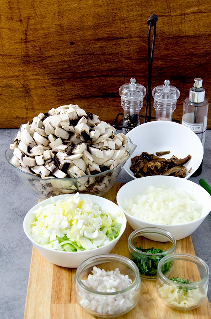 A great cream of mushroom soup starts with fresh ingredients, chopped and ready to go into the soup.