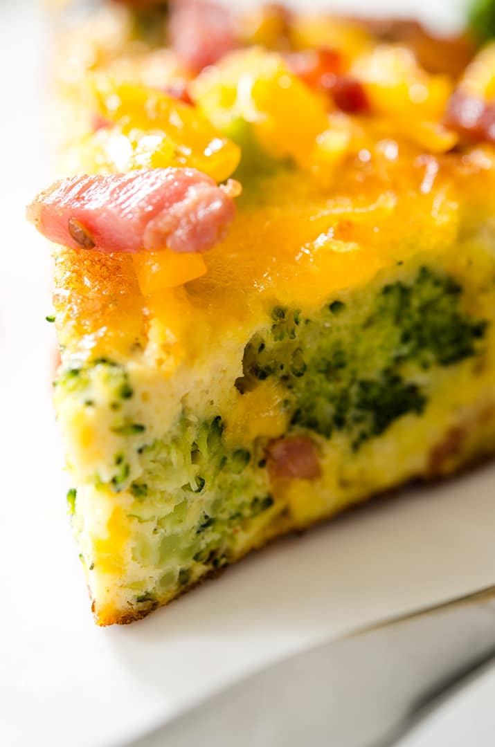 Remove from the oven and slice into the most delicious egg frittata ever. Super yummy.