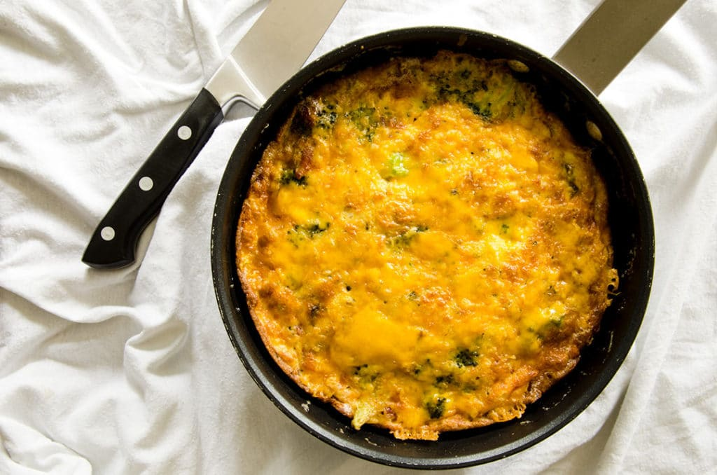 A delicious breakfast egg frittata with cheddar cheese, broccoli and bacon. Outstanding way to start the day.