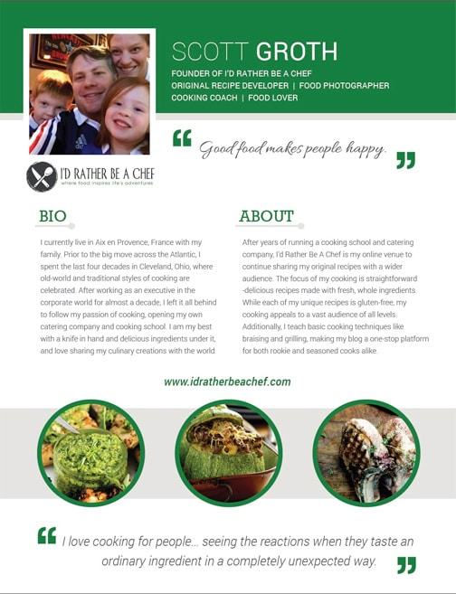 This is page 1 of 2 for my food blog media kit. Click the image to download the entire kit!
