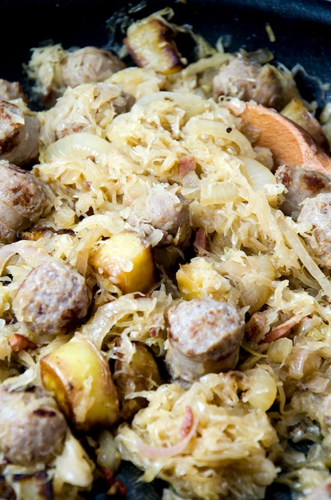 Mix the sausage and sauerkraut together and let cook for about 20 minutes or until the potatoes are cooked all the way through. Oh does this look yummy!