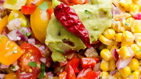 The colors in this southwestern salad are so vibrant. All the taco style toppings pair well with the southwest slaw salad too!