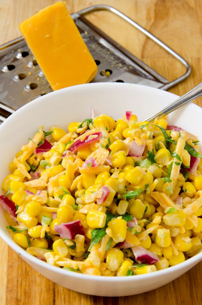 This corn and pickled onion relish is a huge surprise topping for the southwestern salad. It's absolutely delicious.