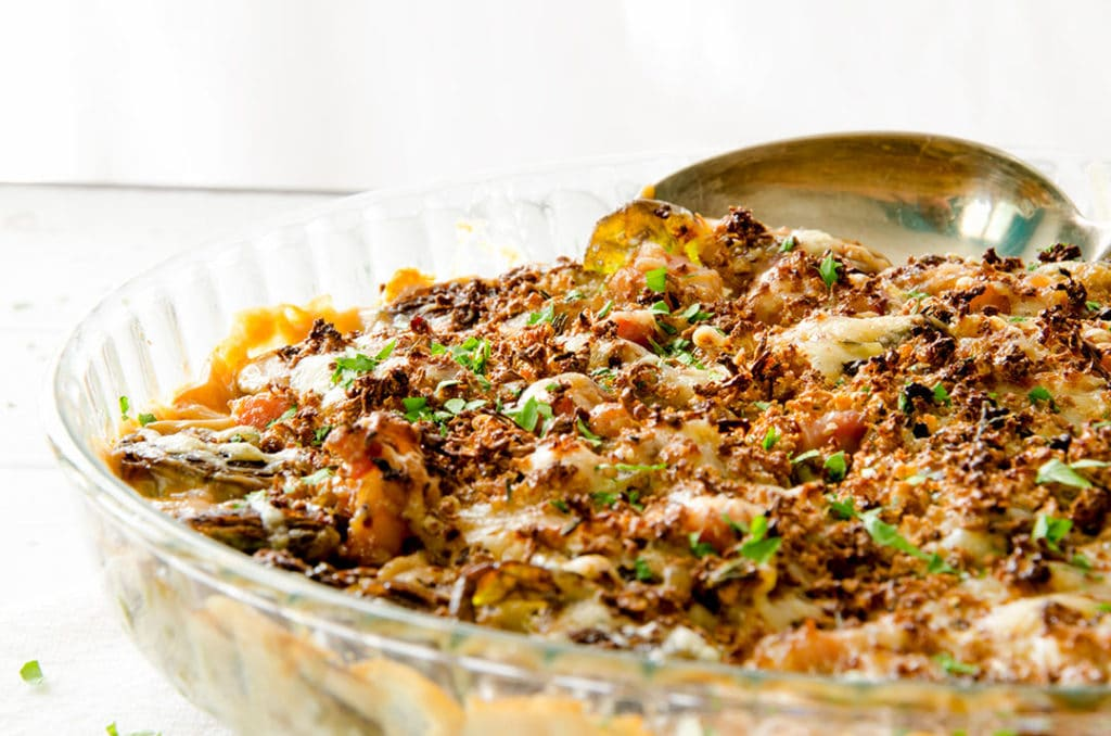 baked brussel sprouts are just delicious with a yummy cauliflower gratin topping!