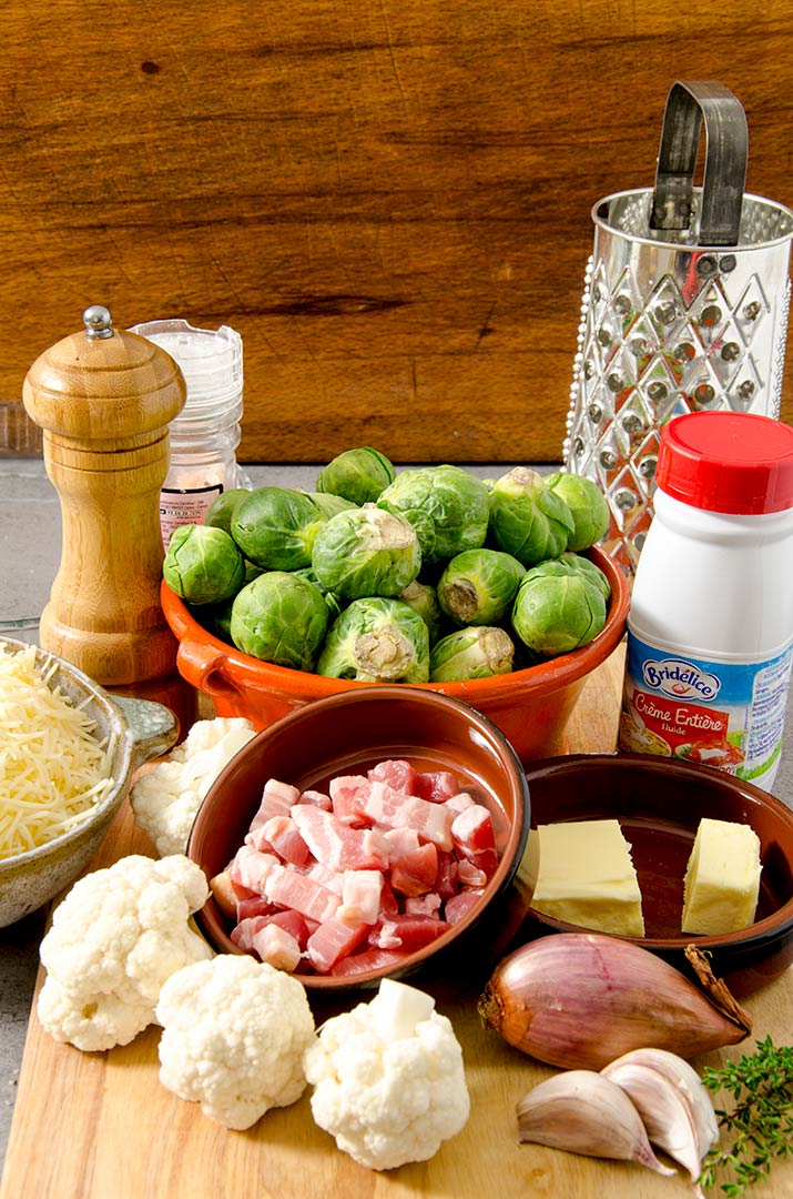 Gather up all the ingredients you need for the baked brussel sprouts. Love all the colors!