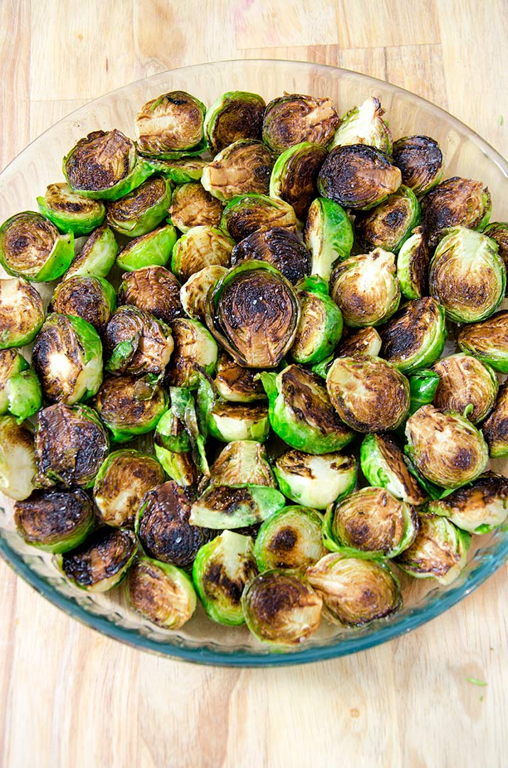 Although this is a baked brussel sprouts recipe, we are going to saute them first. The caramelization tastes delicious with the cream, herbs and cheese.
