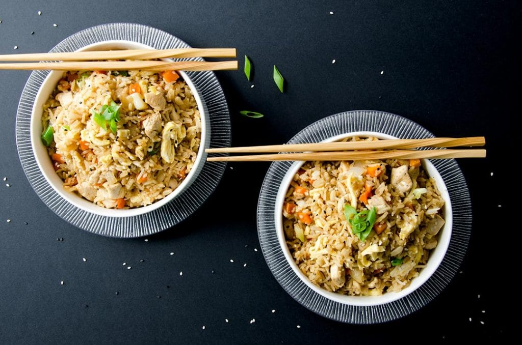 I love eating my fried rice recipe with chopsticks. It just adds to the whole experience.