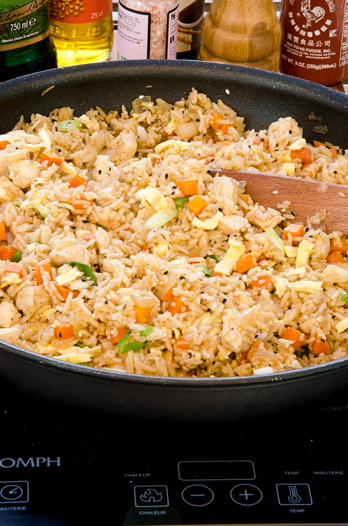 A yummy fried rice recipe with eggs, chicken, sesame seeds, scallions and more!