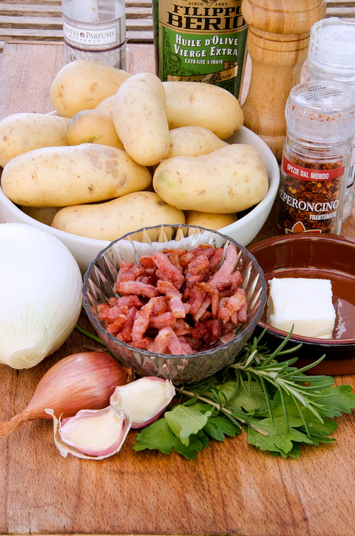 Homemade hash browns start with delicious, fresh ingredients like potatoes, onions, garlic, shallots, rosemary, parsley and bacon!