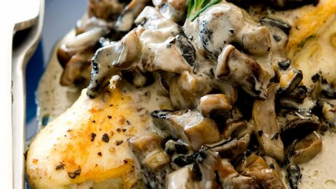 Stuffed chicken breast with creamy mushroom sauce flavored with hints of rosemary and goat cheese. Delicious.