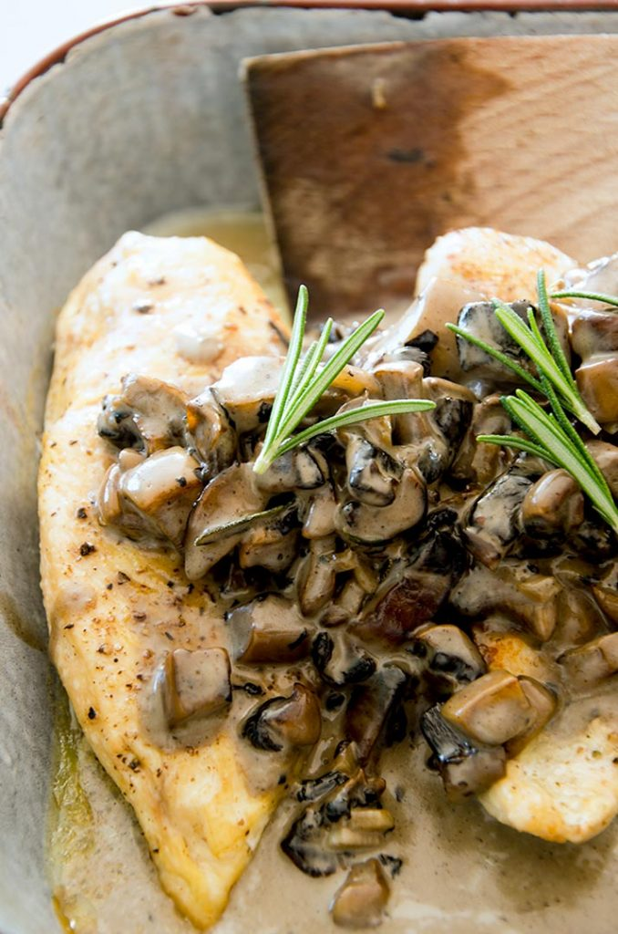Stuffed chicken breast with mushroom cream sauce is perfect any night of the week for dinner.