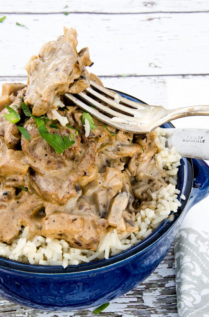 I made this beef stroganoff recipe over some basmati rice that was made with beef stock instead of water. Awesome combination.