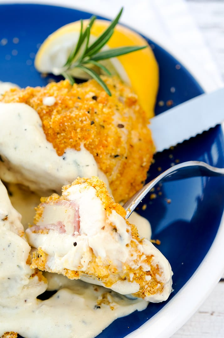 Now you're ready to take your first delicious bite of this creamy, crunchy chicken cordon bleu. Enjoy!