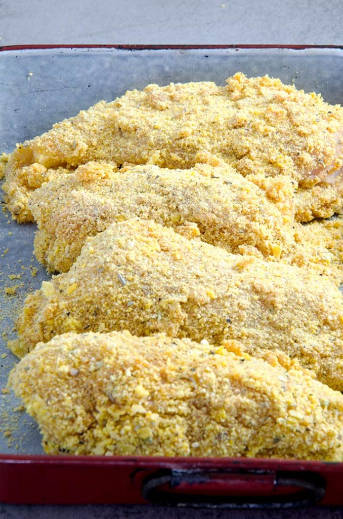 A nice coating of crushed corn flakes makes this chicken cordon bleu really tasty.