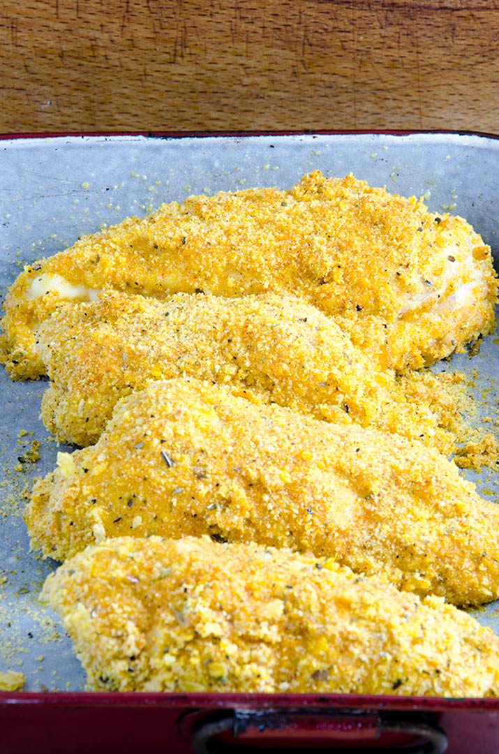 The gluten free crust on my chicken cordon blue recipe is golden, crisp and delicious after about 30 minutes in the oven.