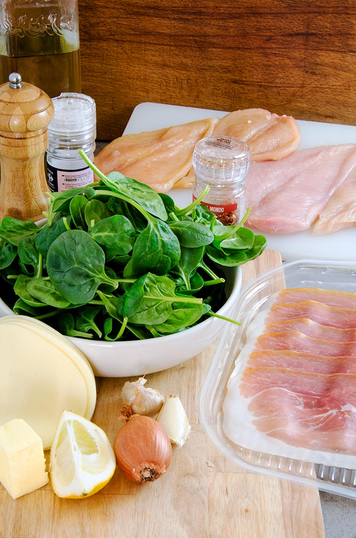 Gather up all your fresh ingredients for this yummy chicken saltimbocca recipe.