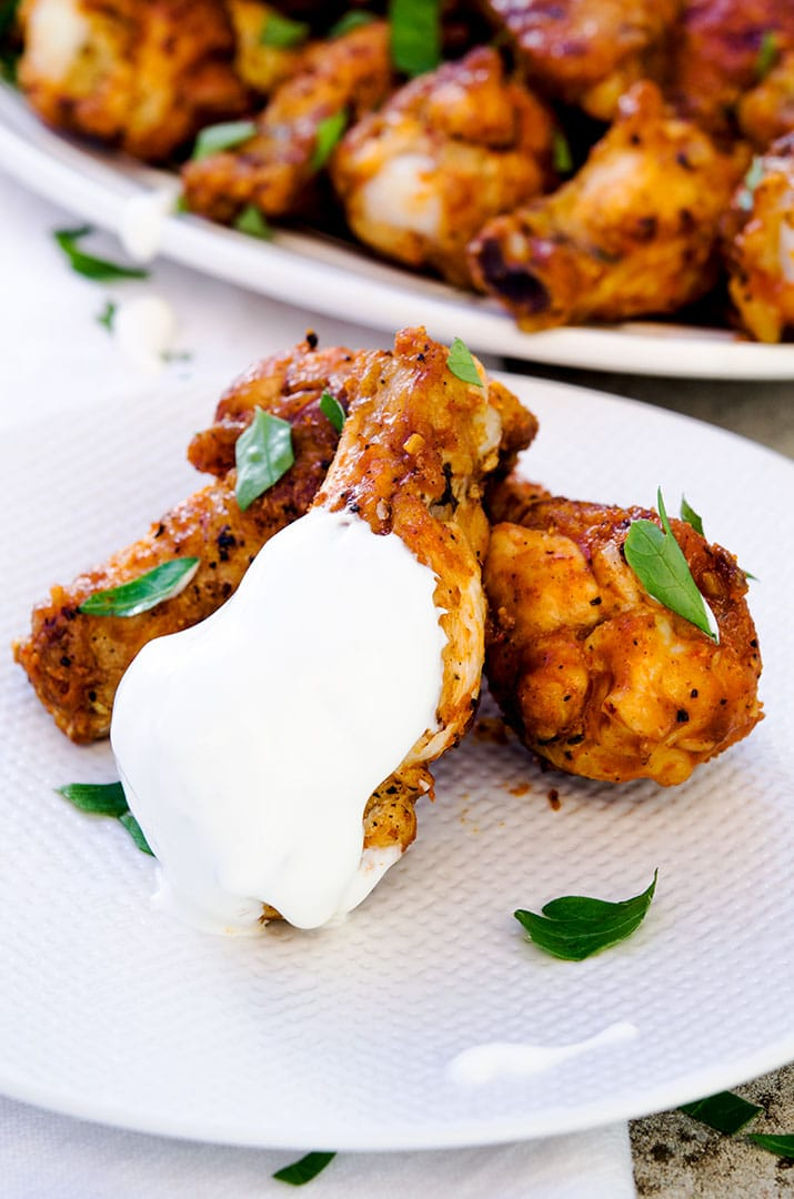 Mmm... I love this hot wing recipe so much. Cool down the heat with blue cheese dressing or my thinned sour cream.