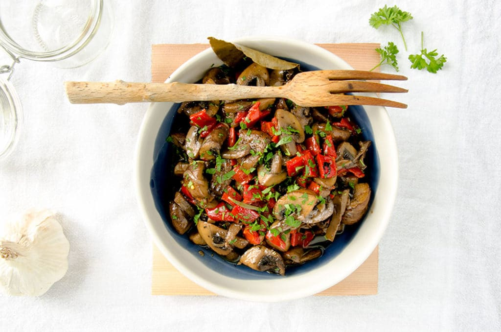 These marinated mushrooms are packed with delicious flavor.