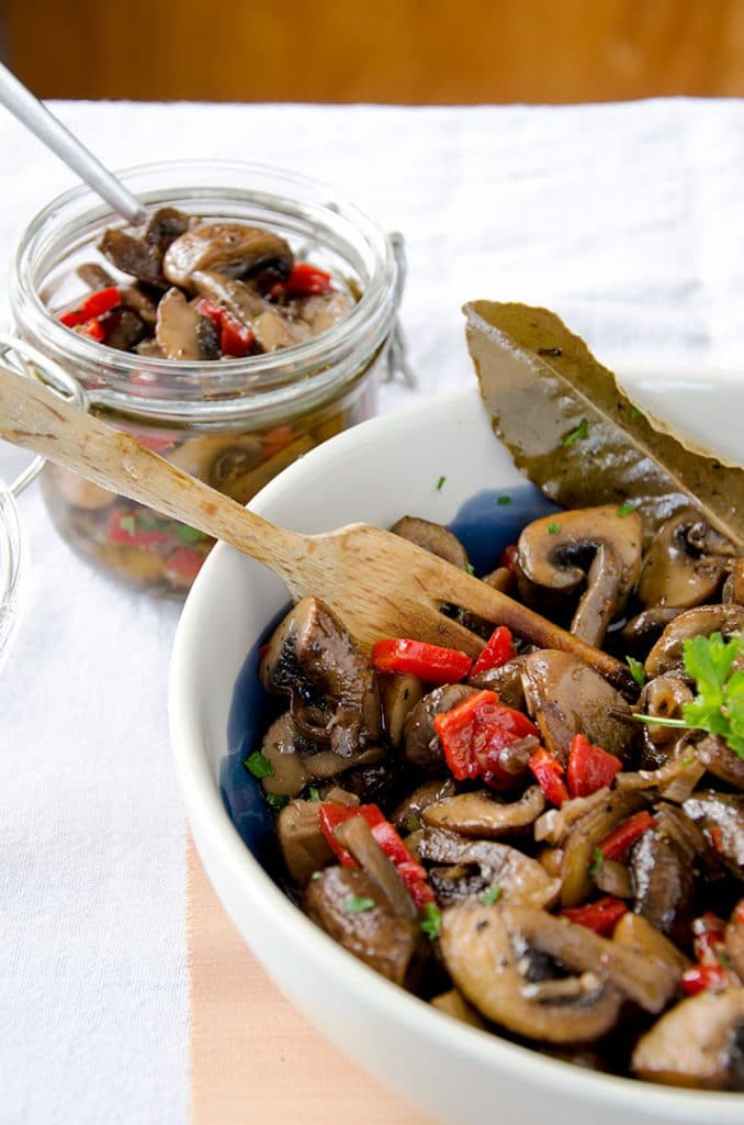 I have to admit that I ate quite a few of these marinated mushrooms during the photo shoot. They are a little addictive.