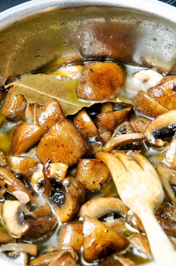 This marinated mushroom recipe needs to cook for about 10 minutes.
