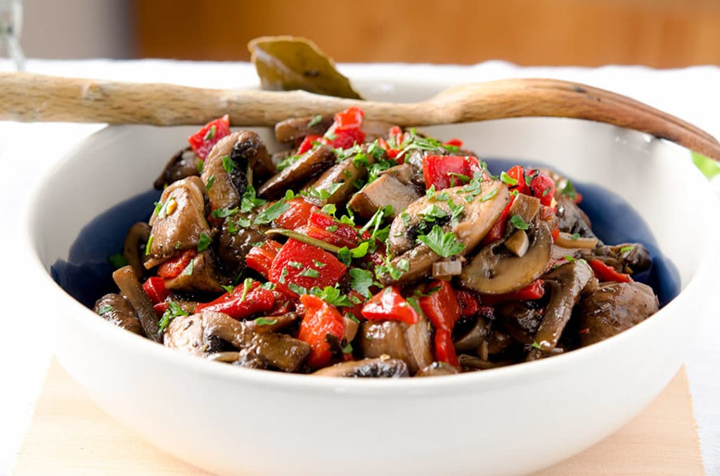 A unique and delightful marinated mushrooms recipe. Pairs perfectly with steak, pork or chicken.