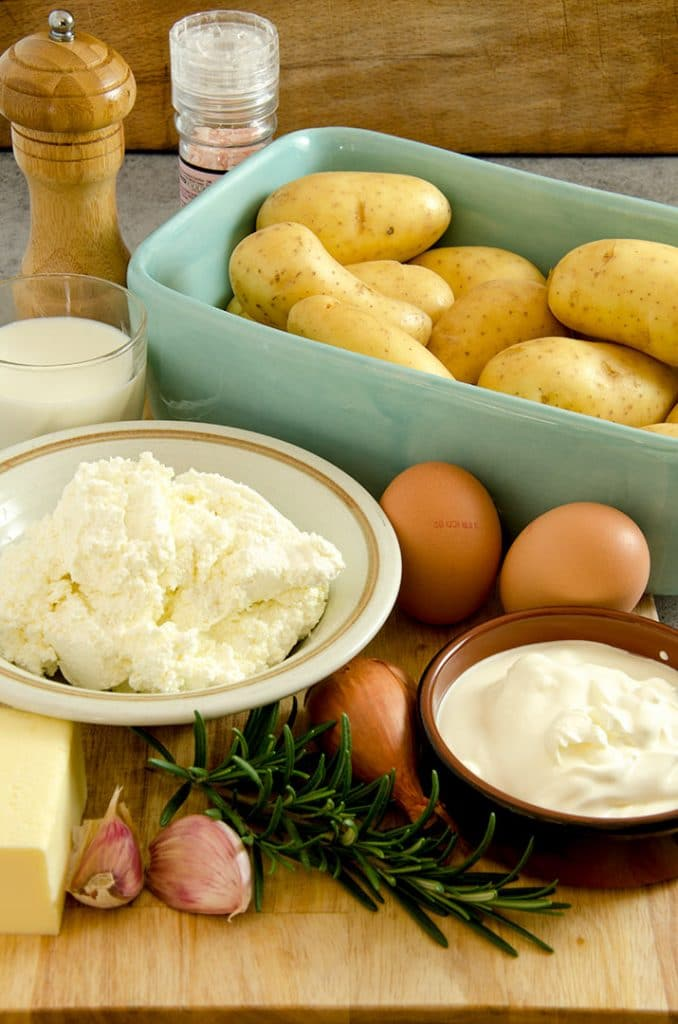 Gather up all your ingredients for the mashed potato recipe. So fresh!