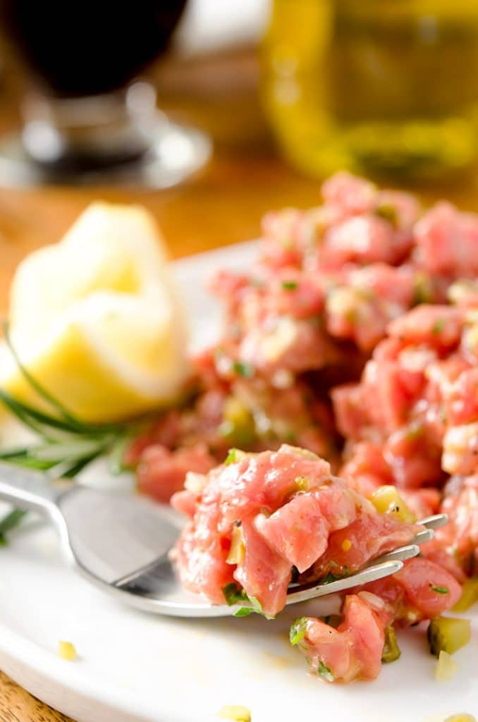 After all the ingredients are mixed together, this steak tartare recipe tastes just heavenly.