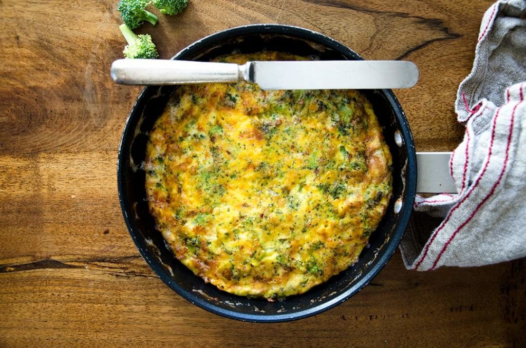 Delightfully tasty and straightforward Broccoli Cheddar Frittata recipe. Yum.